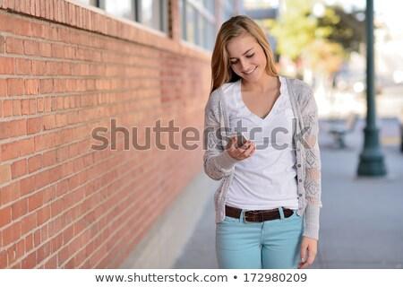 девушки ходьбе смартфон иллюстрация женщину дороги Сток-фото © adrenalina