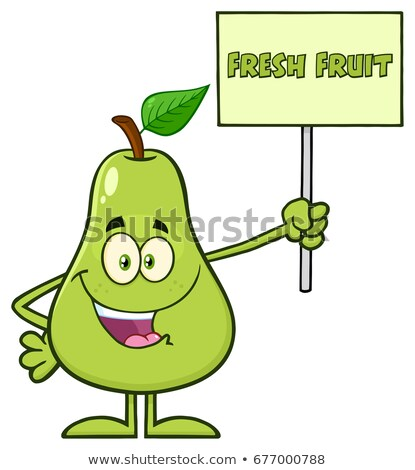 Groene peer vruchten blad cartoon mascotte karakter Stockfoto © hittoon