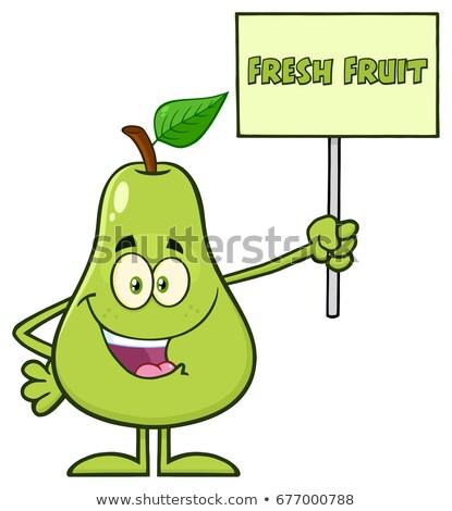 Verde pereira fruto folha mascote Foto stock © hittoon