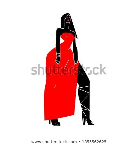 элегантный афро женщину позируют красный Сток-фото © NeonShot