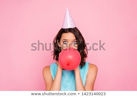 Nő fúj felfelé buborék íny jókedv Stock fotó © IS2