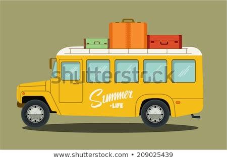 oude · groene · bus · vintage · geïsoleerd · witte - stockfoto © konradbak
