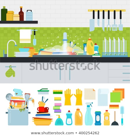 Kitchen sink and dirty dishes. unclean tableware. Vector illustr Stock photo © popaukropa