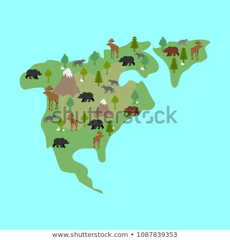 North America map flora and fauna. Animals and plants on mainlan Stock photo © popaukropa