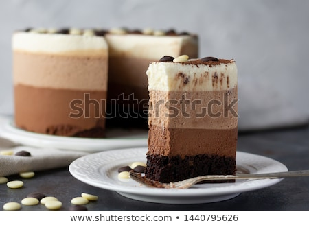 ломтик Шоколадный мусс торт вишни мята Сток-фото © Melnyk