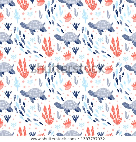 Shell pattern seamless. Underwater world fauna Vector background Stock photo © popaukropa