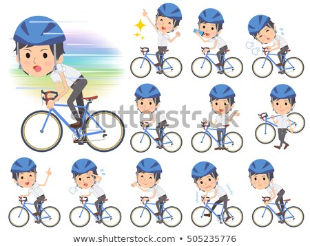 white short sleeved shirt business men on rode bicycle stock photo © toyotoyo
