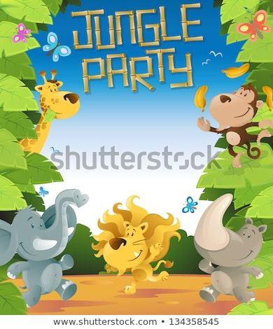 Aranyos állatok dzsungel tánc buli illusztráció fa Stock fotó © bluering