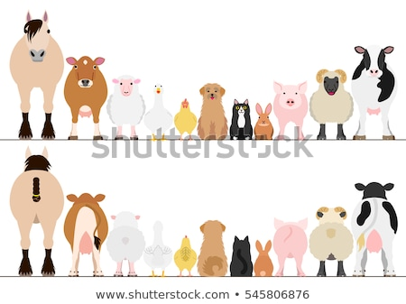 Rajzolt állatok farm szalag rajz mezőgazdasági vidéki jelenet Stock fotó © Genestro