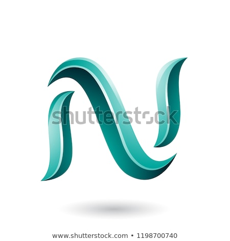 Green Glossy Snake Shaped Letter N Vector Illustration Stock photo © cidepix
