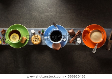 Fincan kahve kurabiye tarçın üzerinde görmek Stok fotoğraf © dash