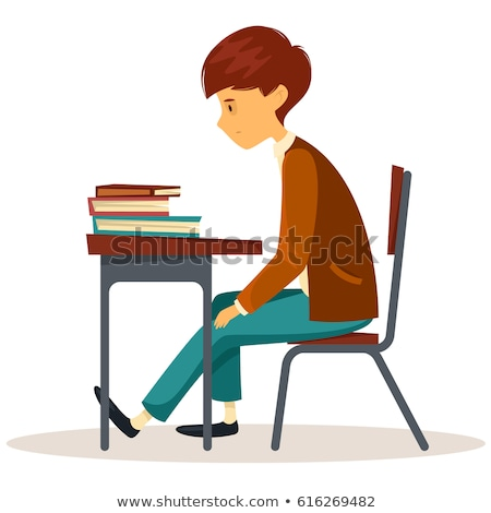 sad child sitting at a desk in the classroom vector school education isolated illustration stock photo © pikepicture