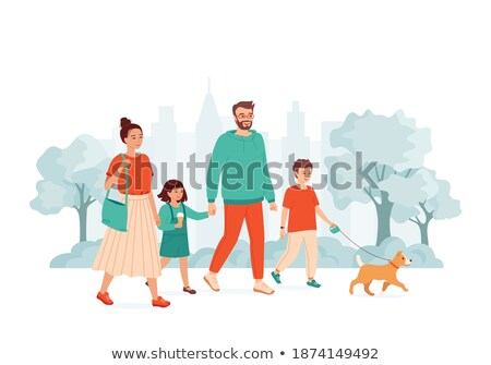 Stok fotoğraf: Two Children Petting A Happy Dog Vector Isolated Illustration