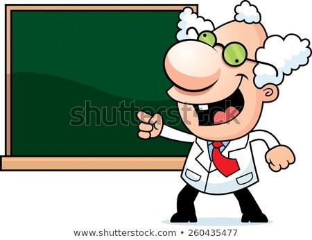 Cartoon mad naukowiec Tablica ilustracja człowiek Zdjęcia stock © cthoman