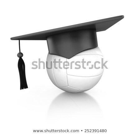 graduation cap on volleyball 3d stock photo © djmilic