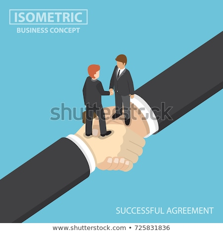 isometric flat vector concept of agreement handshake stock photo © tarikvision
