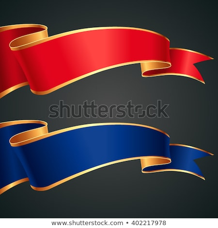 Stock fotó: Stilizált · piros · kék · szalag · vektor · dekoráció