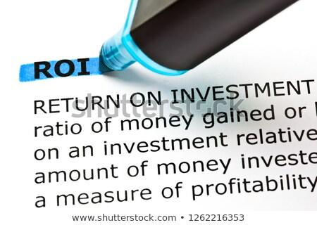 Roi voltar investimento azul marcador dicionário Foto stock © ivelin