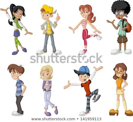 ストックフォト: 子供 · 代 · 漫画 · グループ · 実例