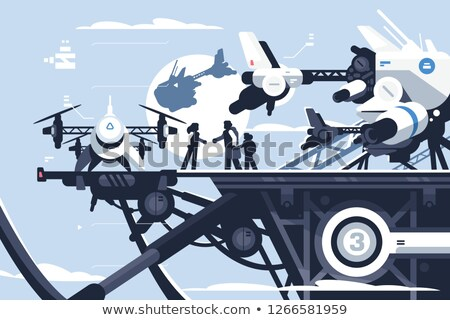 Taxi drone or passenger quadcopter station Stock photo © jossdiim