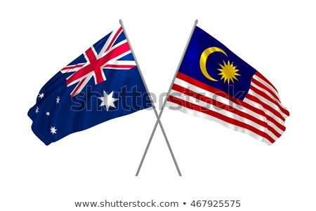 Two waving flags of Australia and malaysia Stock photo © MikhailMishchenko