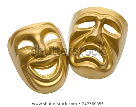 gold comedy and tragedy theater masks stock photo © fizzgig