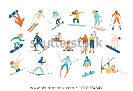 snowboarder jumping vector illustration stock photo © rastudio