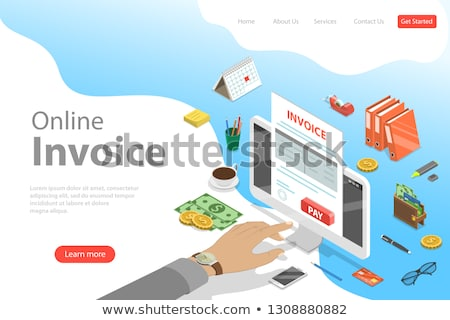 Izometrikus vektor leszállás sablon online számla Stock fotó © TarikVision