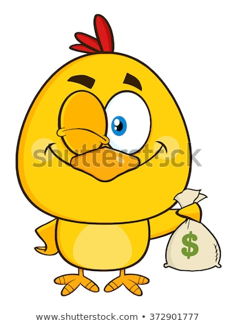 Yellow Chick Cartoon Character Winking And Holding A Money Bag Stock photo © hittoon
