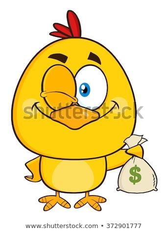 Citromsárga csirke rajzfilmfigura kacsintás tart pénz Stock fotó © hittoon