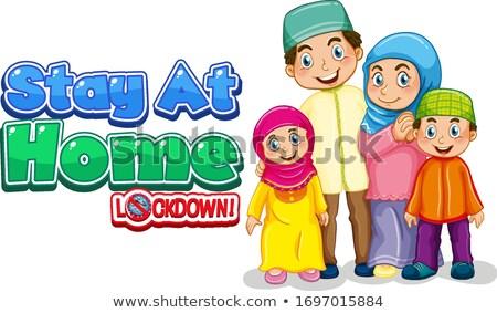 Doopvont ontwerp woord familie kind achtergrond Stockfoto © colematt