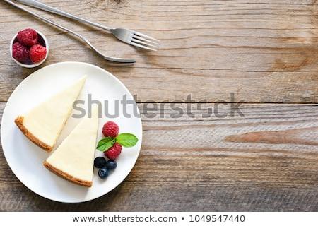 Zoete vanille taart vers houten tafel bakkerij Stockfoto © boggy