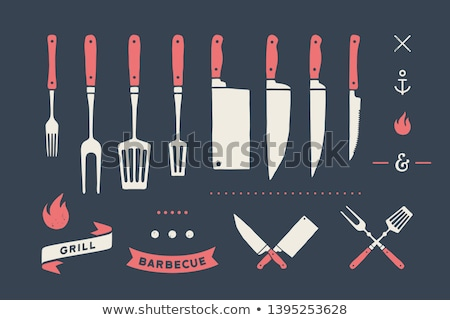 Meat cutting knives and forks set. Steak, butcher and BBQ supplies Stock photo © FoxysGraphic