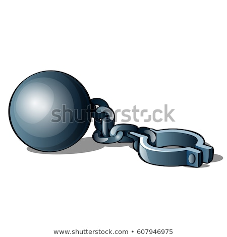 Steel shackles chained to the weight isolated on white background. Vector cartoon close-up illustrat Stock photo © Lady-Luck