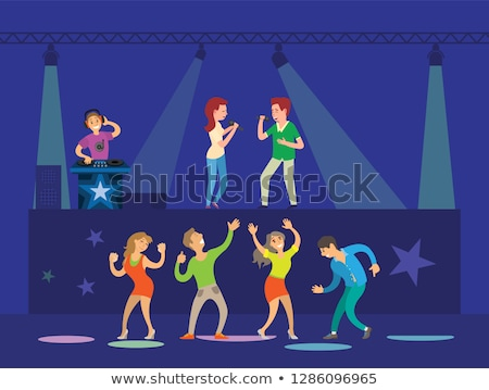 night club dj and singing artists dancers vector stock photo © robuart