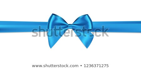 Realistic blue bow with horizontal ribbon isolated on white. Element for decoration gifts, greetings Stock photo © olehsvetiukha