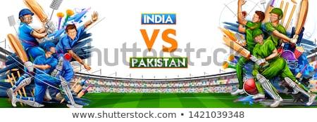 jugador · de · bolos · jugando · cricket · campeonato · deportes · ilustración - foto stock © vectomart