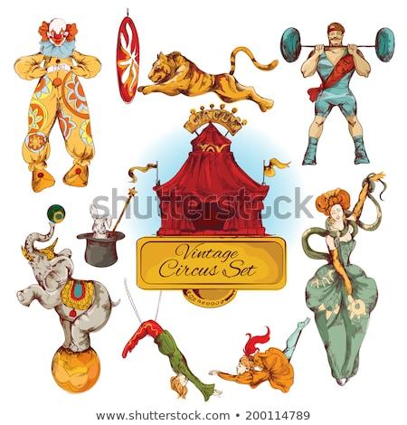 Stockfoto: Kleur · vintage · circus · embleem · uitstekend · eps