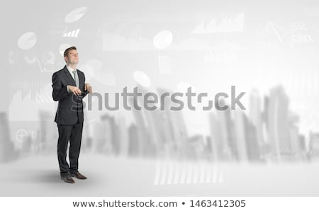 Foto stock: Sleepless businessman with city and report in a dream concept