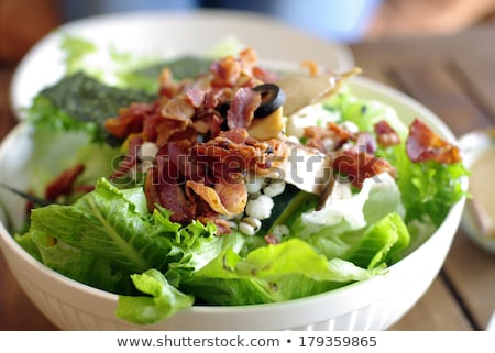 Salad with bacon and greens Stock photo © AGfoto