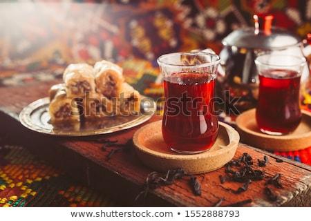Török tea hagyományos üveg felszolgált tipikus Stock fotó © grafvision