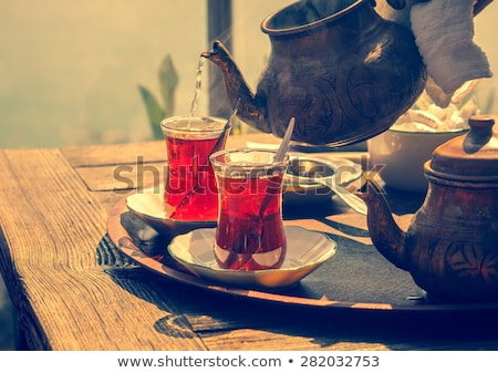Kettő csészék török tea felszolgált tálca Stock fotó © grafvision