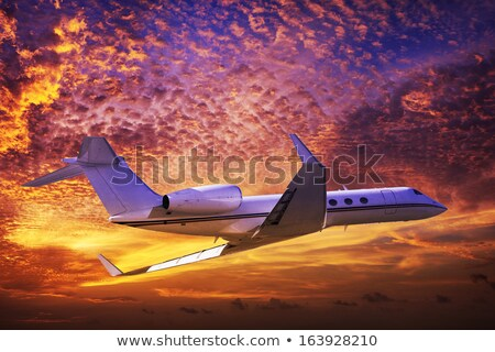 самолет · Flying · красочный · вечер · небе · морем - Сток-фото © moses