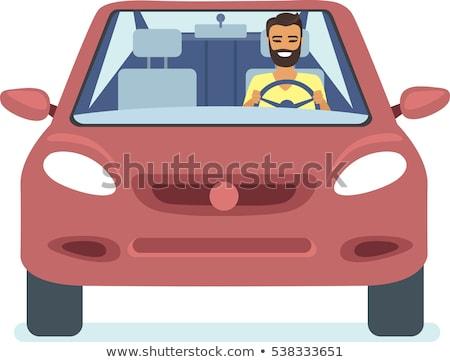 rajz · férfi · vezetés · autó · illusztráció · mosoly - stock fotó © bennerdesign