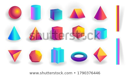 Set of 3d geometric shapes and editable strokes with holographic gradient isolated Stock photo © MarySan