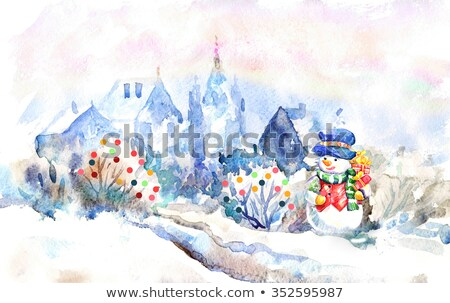Christmas card with fairytale house and beautiful sunset sky Stock photo © Kotenko