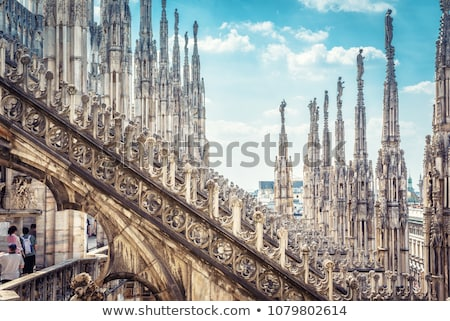 Beautiful luxury terrace on the top of Milan Cathedral with rows Stock photo © boggy