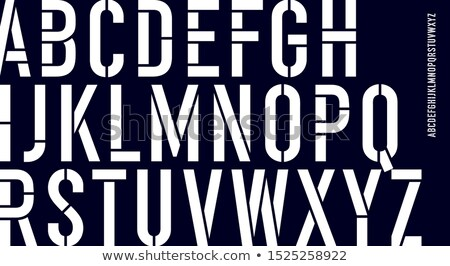 Stockfoto: Stencil Font Black And White Condensed Alphabet And Line Font