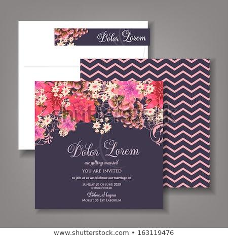 Kreatív esküvői meghívó vektor színes kártya sablon Stock fotó © Decorwithme