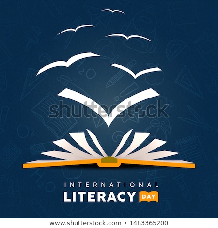 Literacy Day card of open book with bird pages Stock photo © cienpies